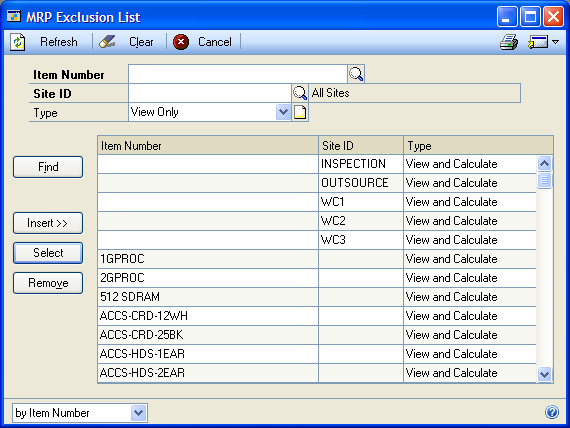 PART 4 MATERIAL REQUIREMENTS PLANNING Excluding items and sites from MRP calculations You can use the MRP Exclusion List to exclude items, sites, and item-site combinations from MRP calculations.