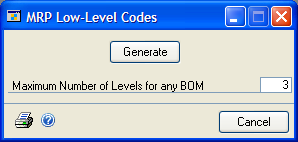 CHAPTER 10 REGENERATION To generate low-level codes: 1. Open the MRP Low-Level Codes window. (Microsoft Dynamics GP menu >> Tools >> Utilities >> Manufacturing >> MRP Low-Level Codes) 2.