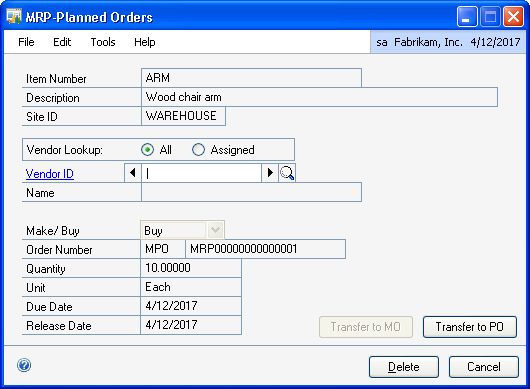 CHAPTER 11 PEGGING 4. In the scrolling window, double-click the MRP-planned manufacturing order (MMO) or MRP-planned purchase order (MPO) to transfer. The MRP-Planned Orders window opens. 5.