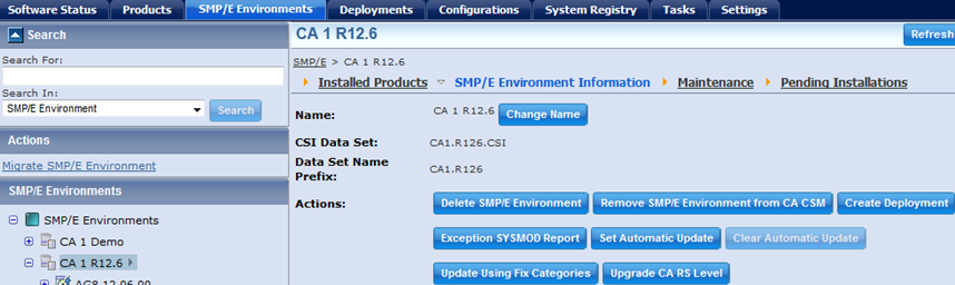 Deprecated Features and Deliverables CA RS Automatic update for an SMP/E Environment The CA RS automatic scheduling is no longer supported The buttons Set Automatic Update and Clear Automatic Update