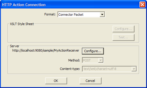 You can configure the following settings: Format The format of the action data that is sent by the HTTP connector.