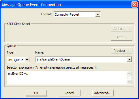 The JMS connector You can use the JMS connector to receive events from message queues and topics, and to send actions to message queues and topics.