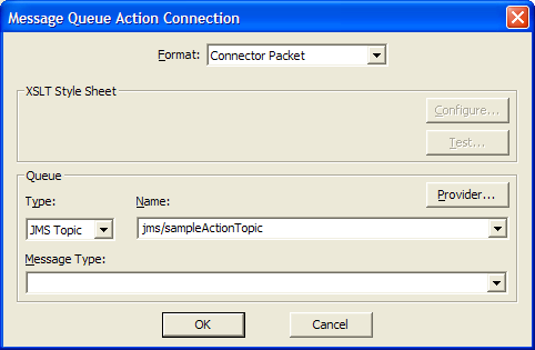 Producing actions by using the JMS connector The JMS connector, also known as the Message Queue connector, can produce actions by putting messages to JMS queues or topics.