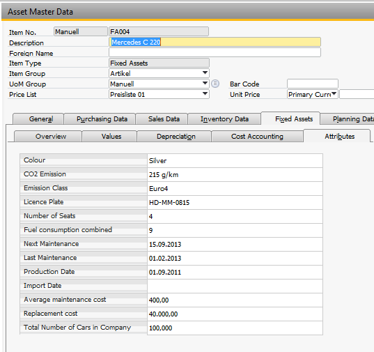 Attribute Group Setup In SAP Business One, you can define different groups of attributes for your fixed assets.