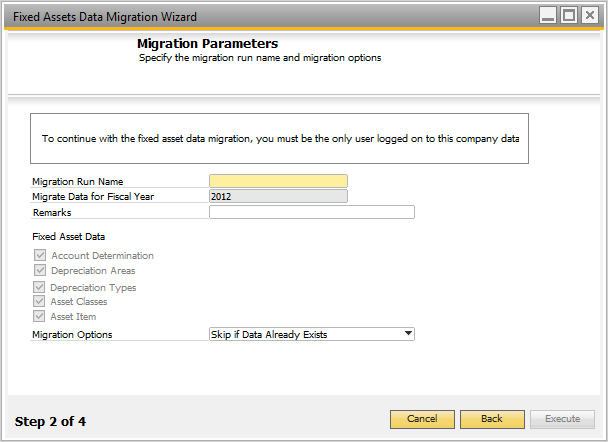 Data Migration from Fixed Assets Add-On With the fixed asset data migration wizard, you can migrate the following data from the Fixed Assets add-on to SAP Business One: Account determination