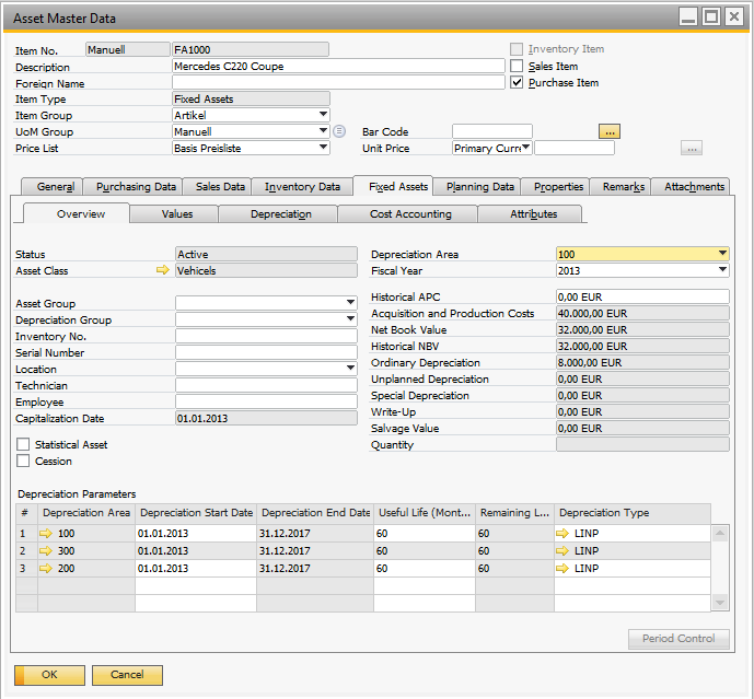 Fixed Asset Master Data The Asset Master Data is a new window under Financials Fixed Assets Asset Master Data In this window you define the assets that company owns.