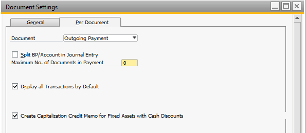 Payment with Cash Discount In the Document Settings, it need to be defined if the Cash Discount shall have an influence on the Fixed Asset Value.