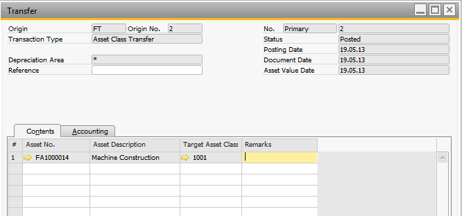 Asset Transfer Asset Transfer At the beginning of the fiscal year, the Value from one Fixed Asset can be moved to another Fixed Asset. Asset Class Transfer With Version 9.