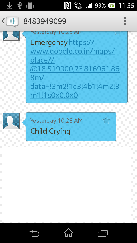 Fig. 5 GSM Modem Figure 6 shows. Voice playback circuit is used to track the crying of the child. Whenever child cries it will sense its crying and trigger the ARM7. Fig. 7 Android application Figure 7 showsthe screen shot of the android application,which shows the child s location and parent s location.
