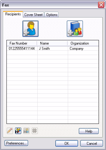 Select [Job Type] and then [Fax] from the pull down menu. Enter the recipient details and select the features required.