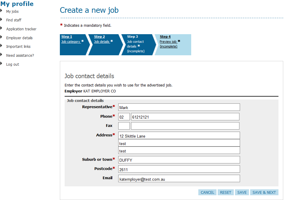 JobSearch Employer Personal Page User Guide Create a new job (page 3) Step 3 of the process for advertising a new job.