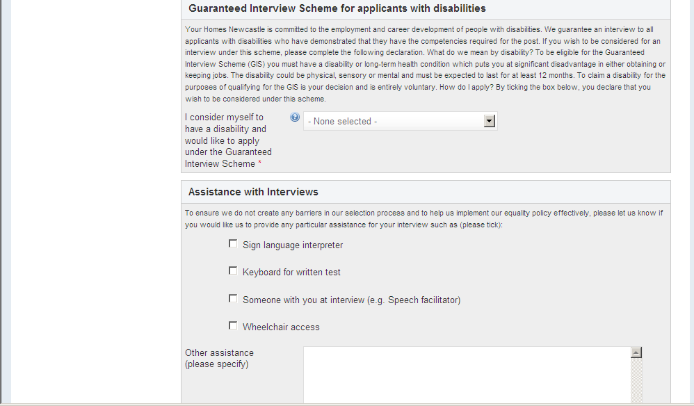 Screenshot 21: Declarations & Disclosure At the Flexible Working section of this stage of the application form, provide details regarding preferred work patterns (full-time, part-time, jobshare) and