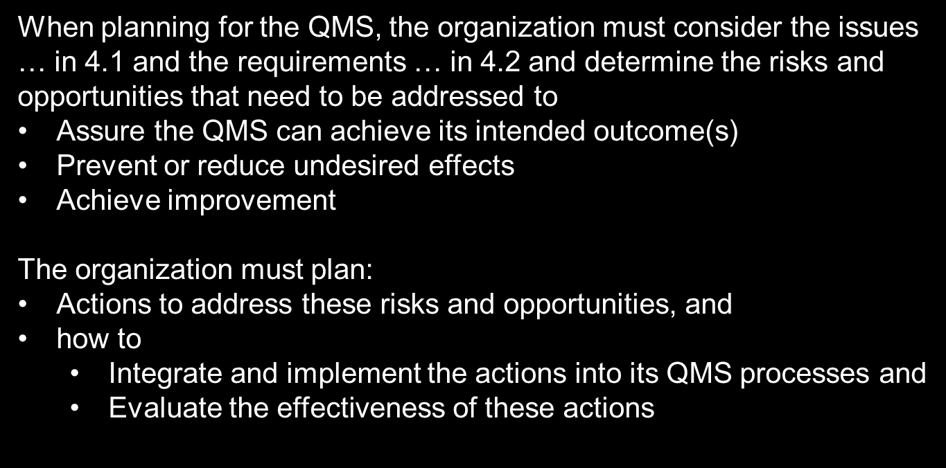 6.1 Actions to address
