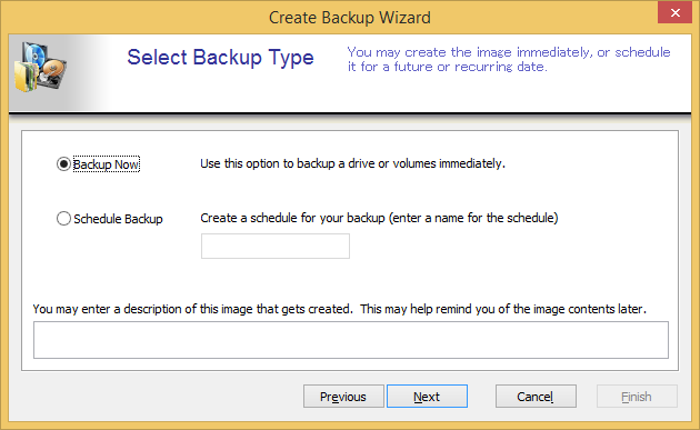 6. Select Backup Type as follows.