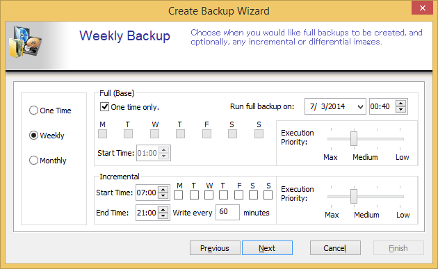 One Time:You can schedule backup tasks to run one time only on the specified time and date.
