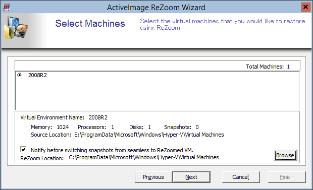 [Image File Details] is displayed for the selected image file. 4. Select a virtual machine to restore.