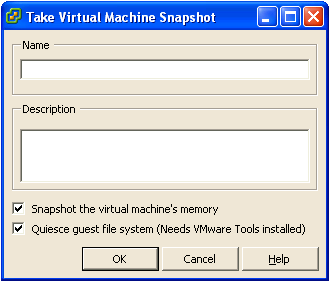 By default, both 'Snapshot the virtual machine's memory' and 'Quiesce guest file system' are enabled when taking snapshot for backup.