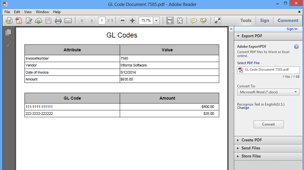 The Associated tab will be opened and it will display the Workflow document and the associated GL Codes Document. In the example below, the GL Codes Document is selected.