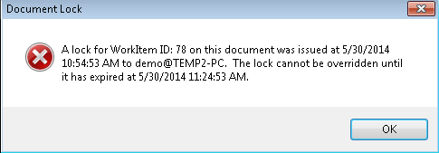 Document Locking When a Workflow Task is opened by a user, a lock is applied to the item until the user closes the item or the lock has expired.