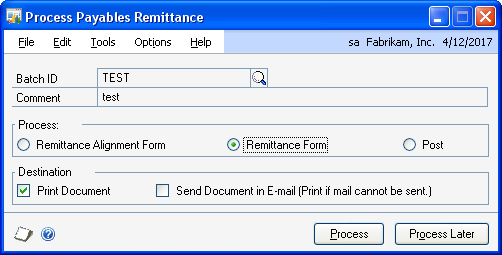 PART 2 TRANSACTIONS 4. Choose how to sort the checks, and select the format to use to print the checks. 5. Mark Separate Remittance to print a remittance separately from the check.