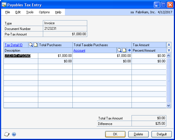 CHAPTER 8 TRANSACTIONS 3. Enter a tax amount in the Tax field and choose the Tax expansion button to open the Payables Tax Entry window. 4. Enter or select a tax detail ID. 5.