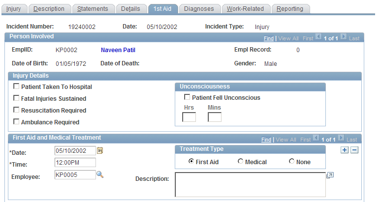 Creating and Tracking Incidents Injury Chapter 5 Select the injury type caused by the industrial accident. The system uses this value to populate the <tipolesion> tag in the XML file.