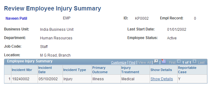 Creating and Tracking Incidents Chapter 5 Review Employee Injury Summary page Show Details Click to access the Injury Details component for a selected incident.