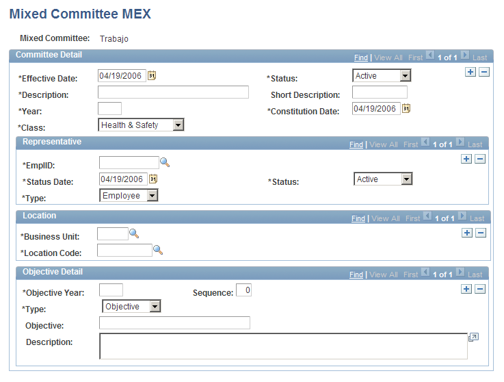 Creating and Tracking Incidents Chapter 5 Page Used to Define Mixed Committees Page Name Definition Name Navigation Usage Mixed Committee MEX MIX_COM_TBL_MEX Health and Safety, Collect Health/Safety