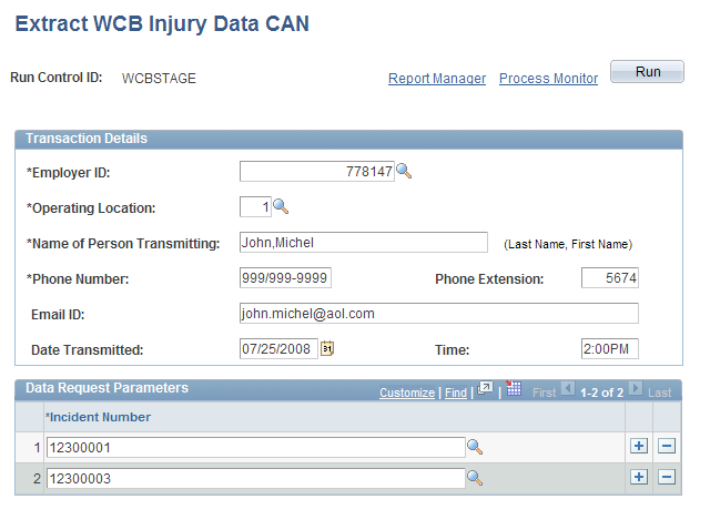 (CAN) Preparing to Report to the Workers Compensation Board Chapter 8 (CAN) Populating Staging Tables Access the Extract WCB Injury Data CAN page ( Health and Safety, Collect Health/Safety Data,