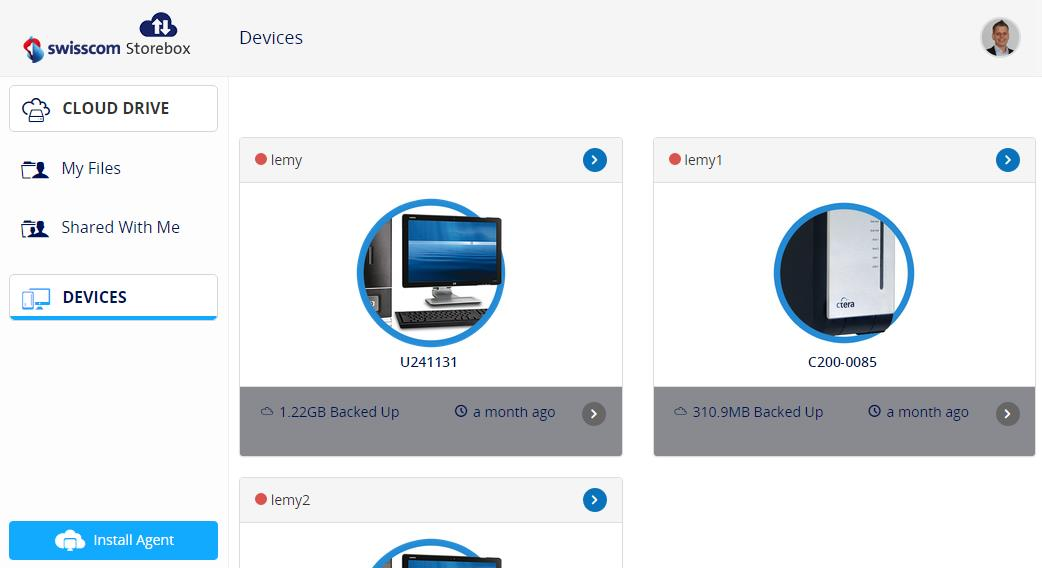 The Devices tab lists all of your devices (Workstations with the Storebox Client installed, NAS-Gateways and mobile devices with the CTera Application) that are connected to your Storebox Portal