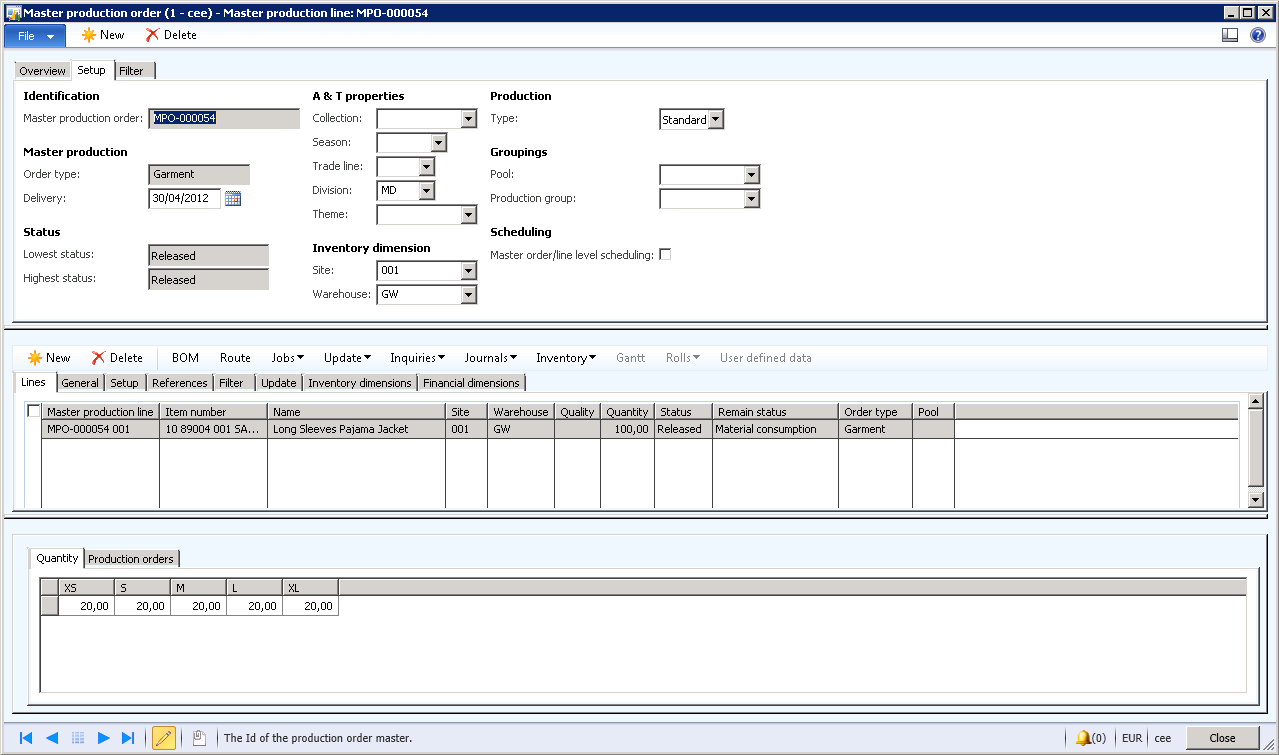 Figure 3. Use multiline production order functionality to set up a specific product with lines for color and size for each style once, and then automatically create production orders for each version.