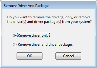 7. In the Remove Driver and Package window, select Remove Driver and Driver Package. 8.