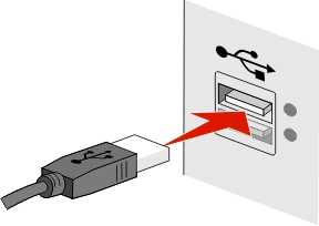 Networking 116 2 Firmly plug the square end of the USB cable into the back of the printer. 3 Firmly plug the rectangular end of the USB cable into the USB port of the computer.
