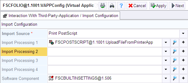 2. On the Interaction With Third-Party-Application tab create a new entry in the Import Configuration field. 3. In the Import Source field select Print PostScript. 4.
