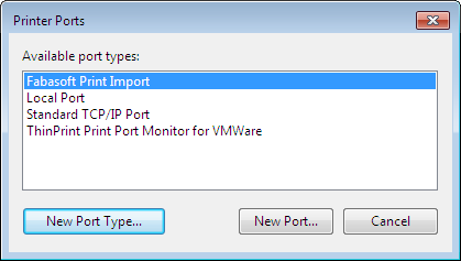 4. On Print Management > Print Servers > work station > Ports execute the context menu command Add Port. 5. Click New Port Type. 6. Browse to the fscprintimportmonitor.