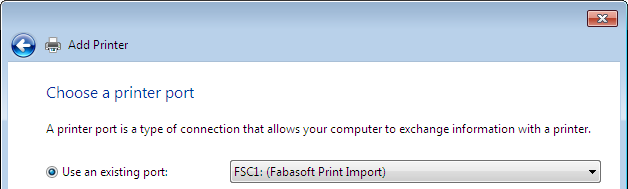 5.3 Create a New Printer (Microsoft Windows 7) To add a new printer that uses the Fabasoft Folio Printer Port, perform the following steps: 1. Add a new local printer via the Control Panel. 2.