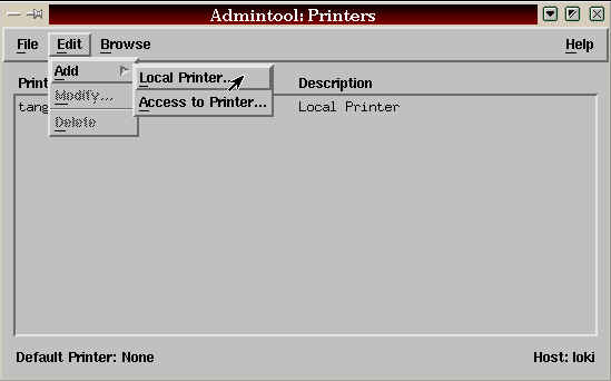Then select add local printer, from the Edit menu The add local printer winw will be displayed.
