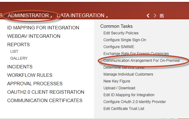 How to implement Mash up to show ECC screen in SAP Cloud for Customer 11 2.3 Create Communication Arrangements 1. Login to the SAP Cloud for Customer system. 2. Under the Administrator tab open Communication Arrangement For On-Premise Integration.