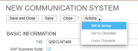 How to implement Mash up to show ECC screen in SAP Cloud for Customer 10 2. Click New to create a new communication system. 3.