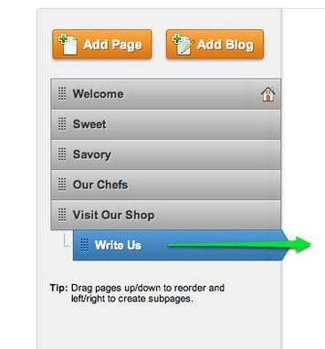 You can re-arrange the order of the pages by clicking and dragging them up and down the list.