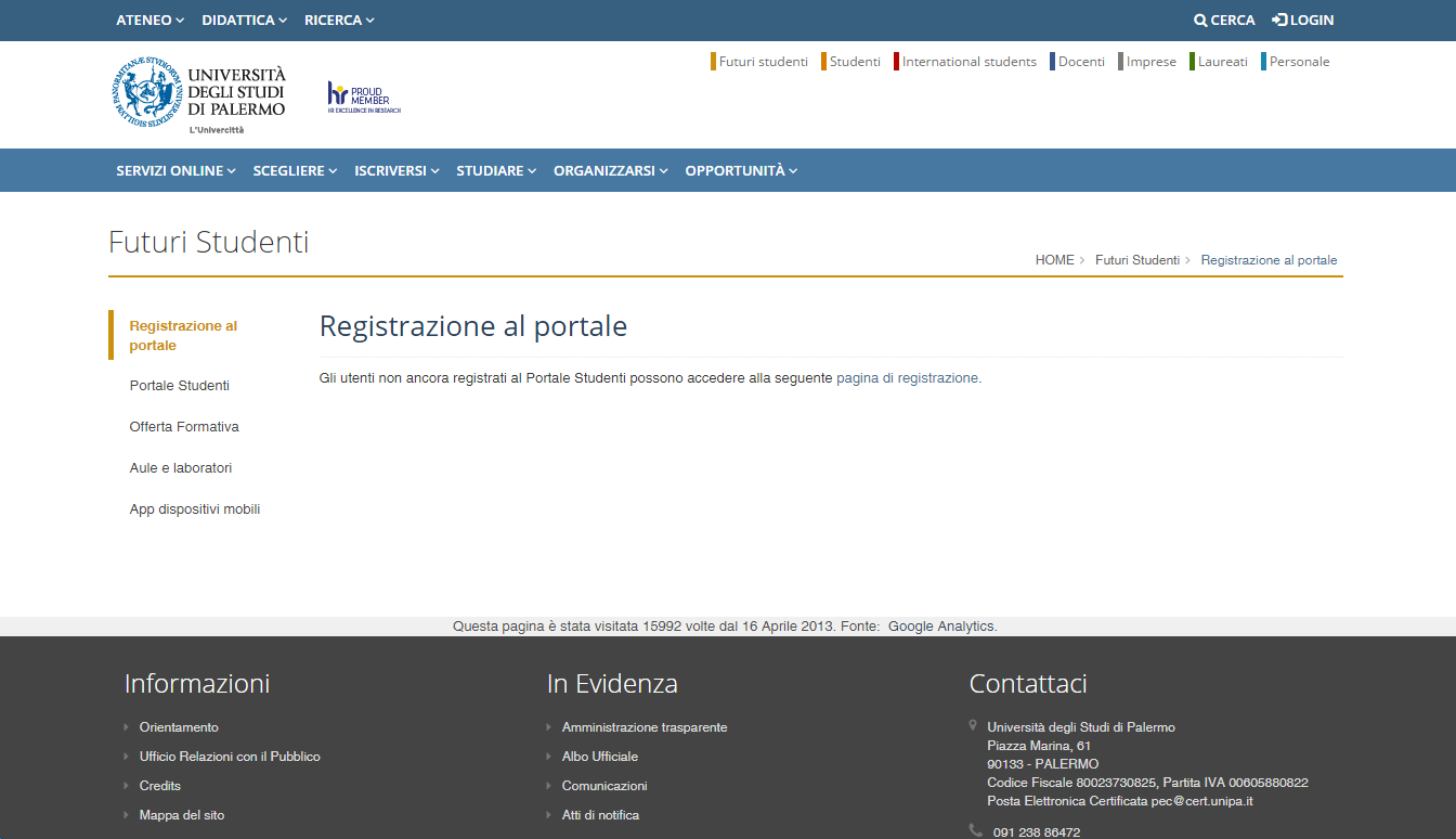 click on pagina di registrazione.