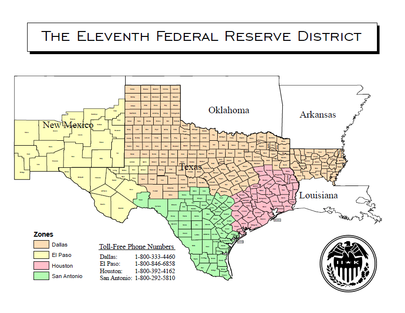 The Federal Reserve System Districts #11 Dallas, Texas: Texas is in District #11, along with part of two other states, New Mexico