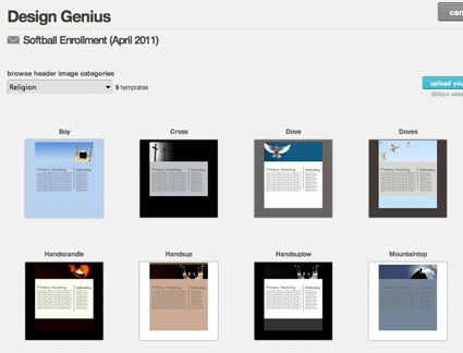 If you choose Design Genius, MailChimp will take you step-by-step through your newsletter design. The first step in Design Genius is to choose a category.