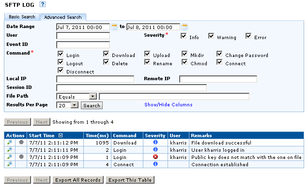 Advanced Search The Advanced Search provides additional search options including the Basic Search options for the SFTP Audit Log.