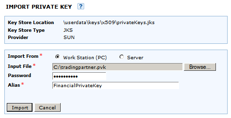 Import SSL Private Key SSL Private Keys can be imported into the Private Key Store to provide secure authentication with the servers used by Trading Partners.