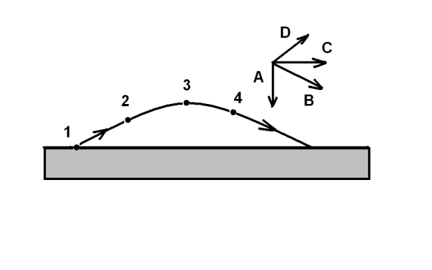 c. Q P d. Q P 4. A ball fired from a canon at point 1 follows a trajectory shown below. Air resistance may be neglected. Four possible vectors are also shown in the figure.