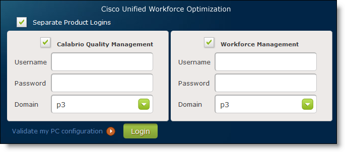 Getting Started About Single-User Login Authentication If Workforce Optimization is configured to share common login fields for multiple Cisco products, the Login window (Figure 2) displays one