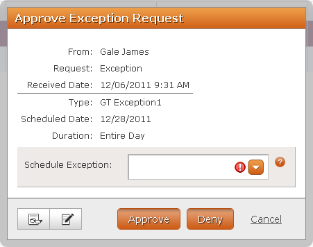 Messaging Supervisor Messaging Approve Exception Request The Approve Exception Request dialog box (Figure 24) allows you to approve or deny exceptions.