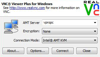 2 Choose your connection method. RealVNC Input the machine name or IP address of the PC you want to control with KVM.