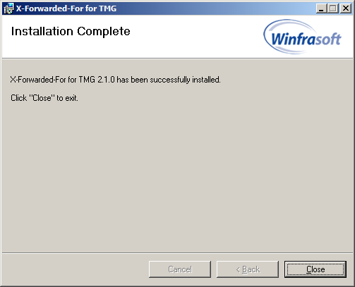 18 Winfrasoft X-Forwarded-For for TMG 2.1 (7) If prompted by UAC ensure the Program name and Verified publisher are correct and click Yes to allow the installation.